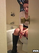 Spy Cam in the Loo - panty crotch shots caught in private toilet! Sneaky red panty crotch shots!