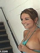 Parkade Pussy Flasher - Lil cutie flashing tits n pussy on parkade stairs!