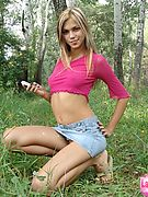 Laura loves Katrina Picture Gallery :: Hot chick with sweet boobs stripping outdoors with no shame