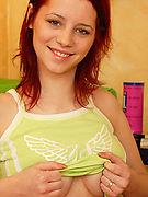 TASTY TEEN REDHEAD - See barely legal Gabriela show her nice round ass and breasts!