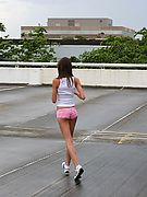 Amateur teen hottie Brooke Skye running topless outside