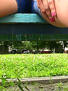 Curvy bitchie in the jean shorts pissed herself confusedly on a bench