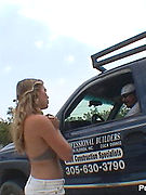 Lunch Break Flasher - cute blonde bares boobs for the lunch break crowd! Blonde busty exhibitionist bares tits in public!