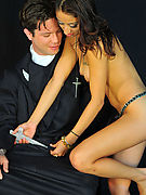skinny Latina Serena Silva and father Alito in the blowjob humiliation