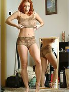 Redhead Bedroom Cam - well-built redhead caught trying on clothes!