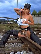 Ashley Robbins - Oiled up on the railroad track