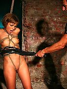 hot bondaged brunette gets enslaved and pounded by rough master