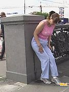 Off-putting public piss fail of a cutie who wanted to pee desperately
