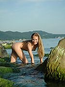 Cute blonde Teen relax nude at the sea. Free Femjoy gallery