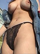 City Gal Flasher Naked in the Country - busty city chick flashing naughty nakedness outdoors at the wreckers. Public Flash gallery!