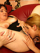 hot mature ladies and a hairy blonde licking each others pussy