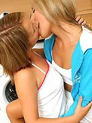 lesbian teens gently kissing and touching each others pretty body and tits