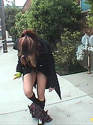 Flashin Natural Satine- flasher prances all around town wearing nothing but overcoat, socks and shoes! Laughing exhibitionist naked on public streets!