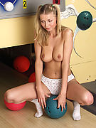 NUDE TEEN BOWLING - See horny amateur Kerry peel off her panties at the bowling alley!