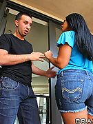 porn star Monica Santhiago gets her back door banged by his big dick!