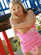 TEEN ON PLAYGROUND - See beautiful blonde 18 year old Jewel pull down her pantie sand play naked outdoors in the sun!