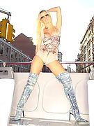 Jenna Jameson Blonde Teasing On A Road Trip @ Club Jenna