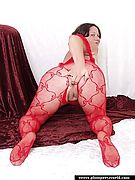 American Fatties - Fat Chick In Sexy Red Fishnet