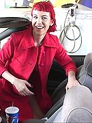 Red Hot Flasher Naked at the Service Station - this crazy chick strips 