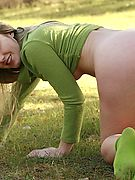 BARELY LEGAL BLONDE - See petite 18 year old Private School Jewel stripping naked outdoors!